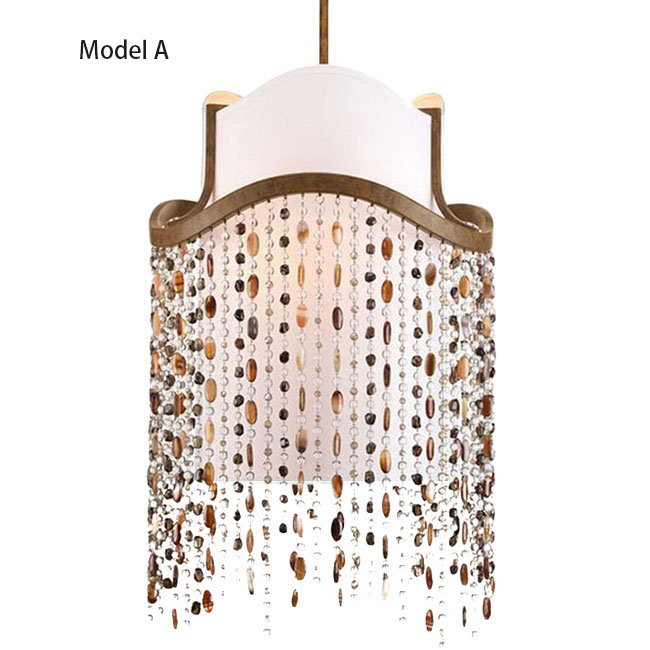 PHX Flax Shade and Colorful Crystal Pendant Lighting 11508