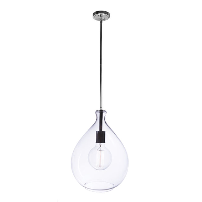 PHX Clear Glass Shade Pendant Lighting in Chrome Finish 11621