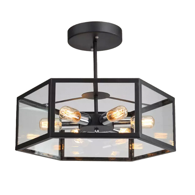 Antique Iron and Glass Shade Ceiling Lighting 11701
