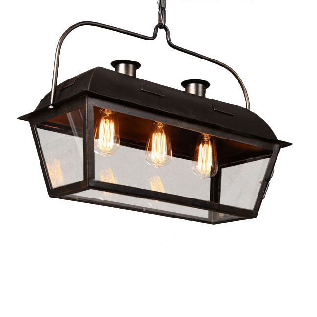 Antique Iron and Glass Box Pendant Lighting 11782