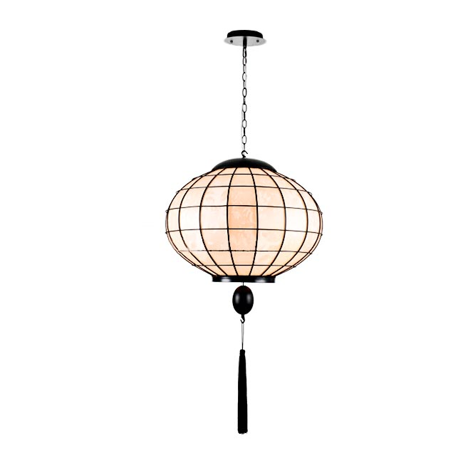 Antique Iron and Silk Shade Pendant Lighting 11808