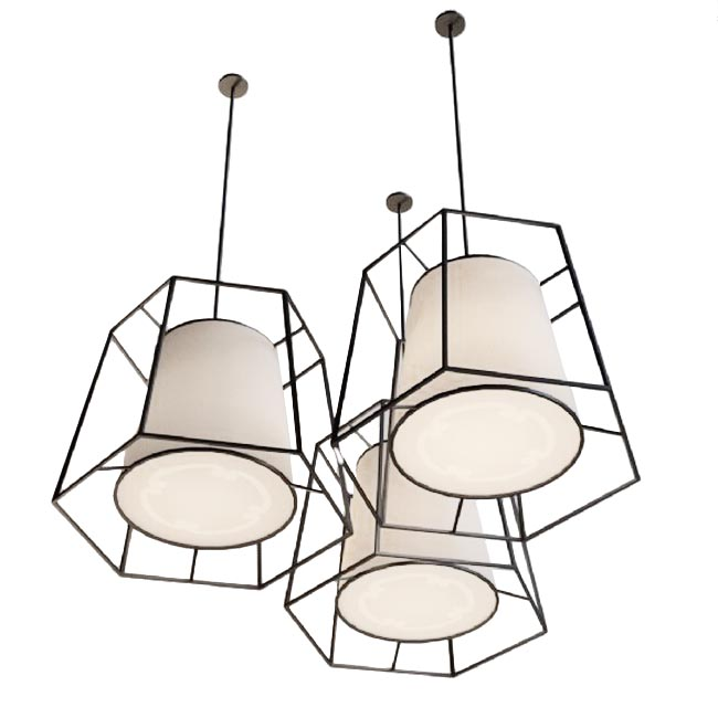 Coutry Iron Line Frame and Flax Shade Pendant Lighting 11810