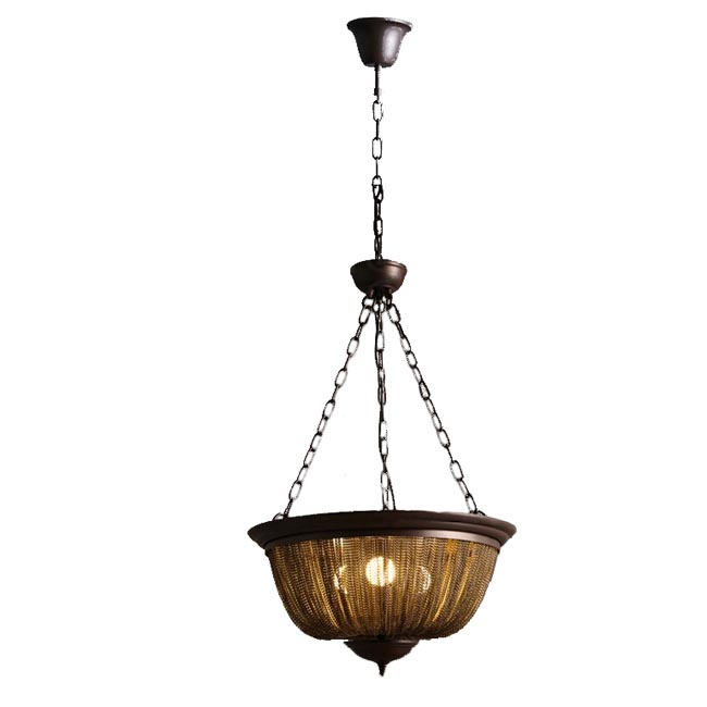 Antique Iron Chain Pendant Lighting in Brown Finish 11815