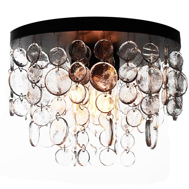 Country Iron and Handmade Glass Round Crystal Pendant Lighting