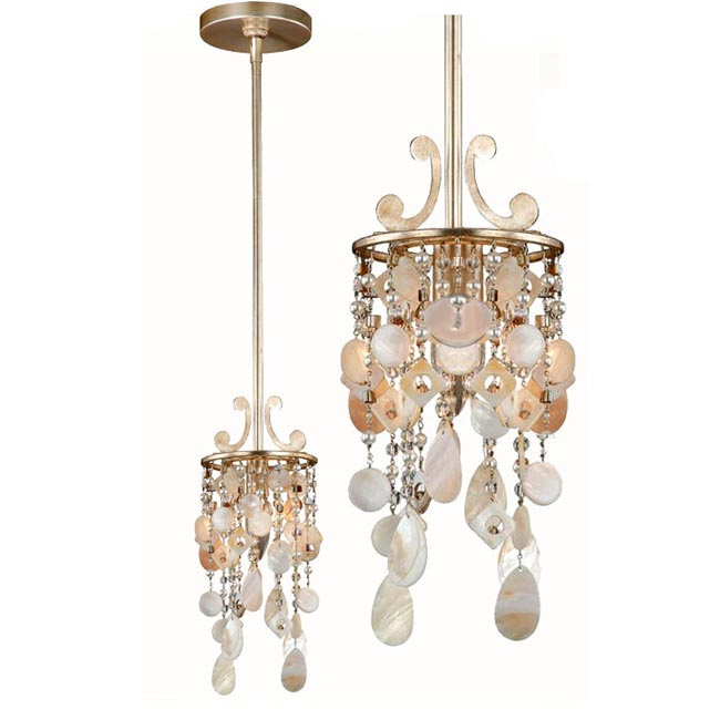 Country Metal and Shell Pendant Lighting in Gold Finish 11958