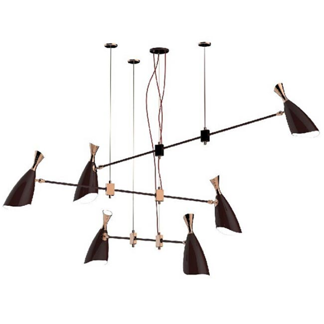 Modern 6 Golden And Black Shade Pendant Lighting 12010