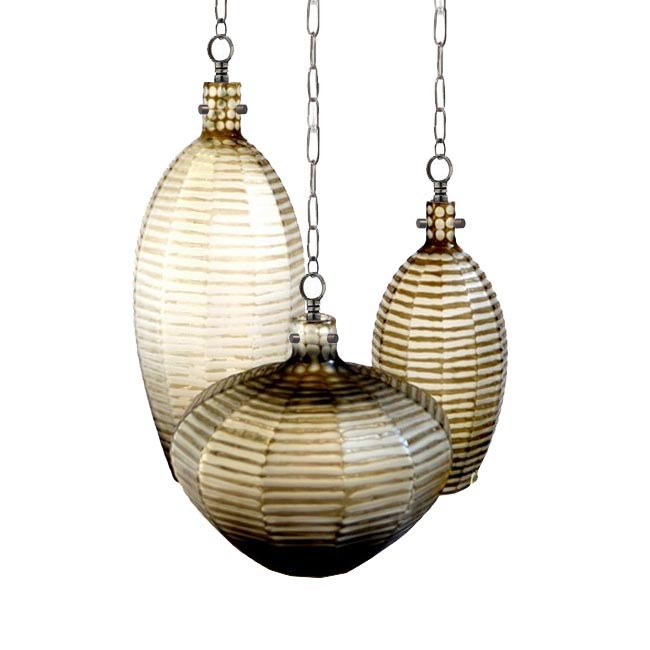Antique Blown Carved Glass Shade and Iron Art Pendant Lighting 1