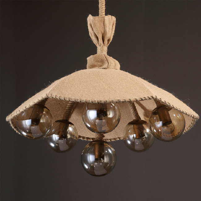 Country Flax UJmbrella and 6 Glass Balls Pendant Lighting 12040