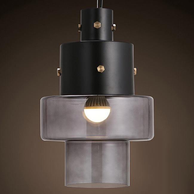 Modern Industrial Shade and Glass Pendant Lighting 12119