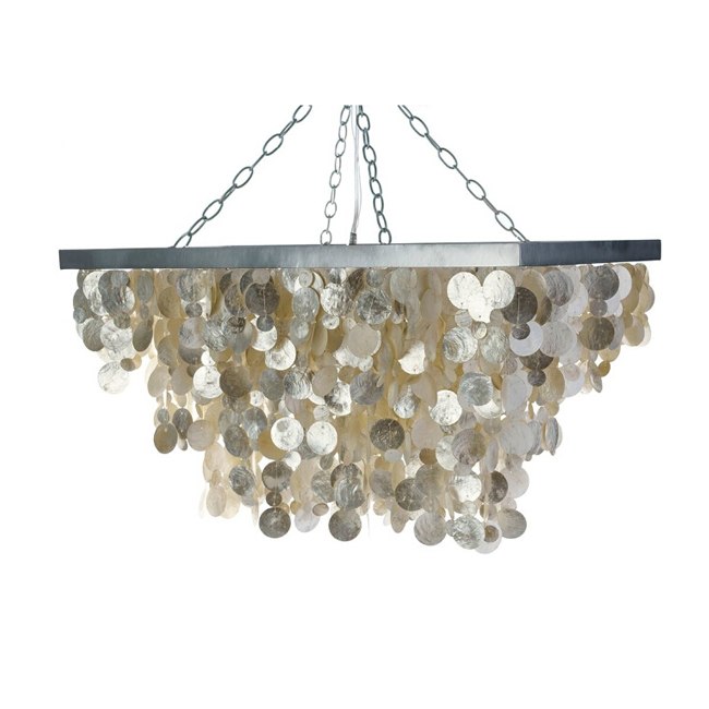 Rectangulart Capiz Seashell Rain Drop Pendant Lighting 12222