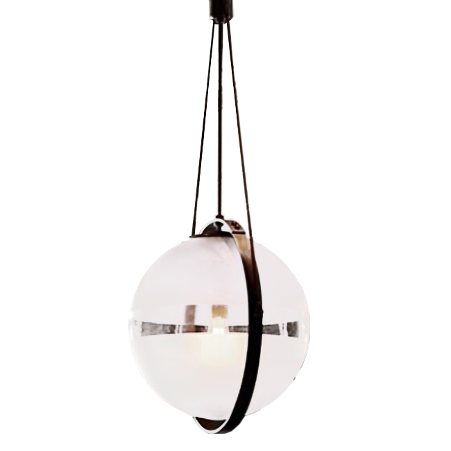 Country Iron and Matte Glass Orb Pendant Lighting 12245