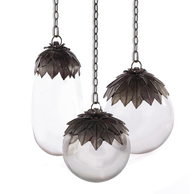 Antique Blown Glass and Iron Pendant Lighting 12781