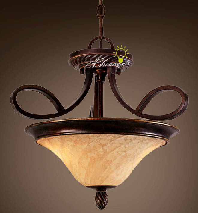 Antique Iron Art and Marble shade Pendant Lighting 7512