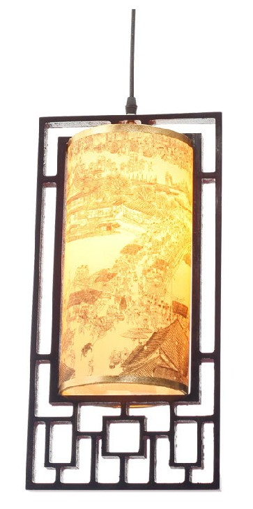 Modern Carved Bamboo and Parchment Pendant Lighting 7538