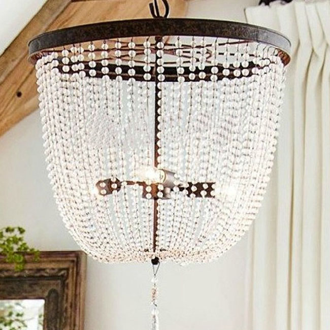 North Antique Crystal and metal Pendant Lighting in Rusted Finis