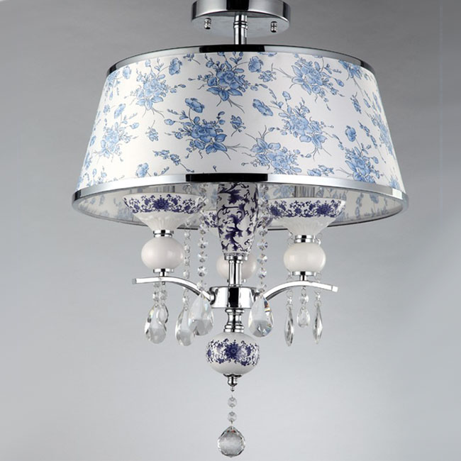 Modern Chinese Porcelain and Fabric Pendant Lighting 9795