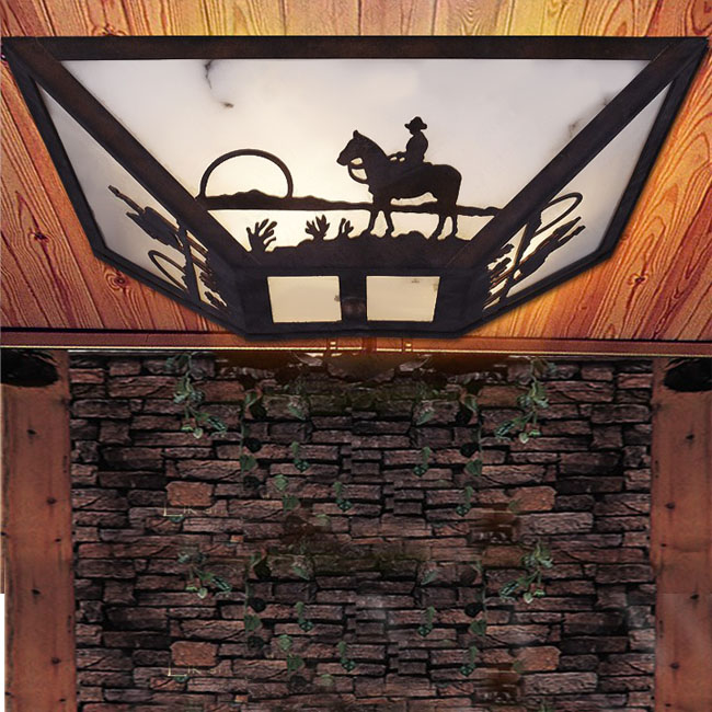 Royal Antique Country Iron and Marbler Shade Recessed Lighting 1