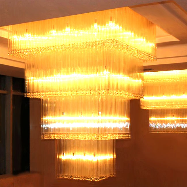 Project Modern Large Size Oblong Crystal Chandelier 10326