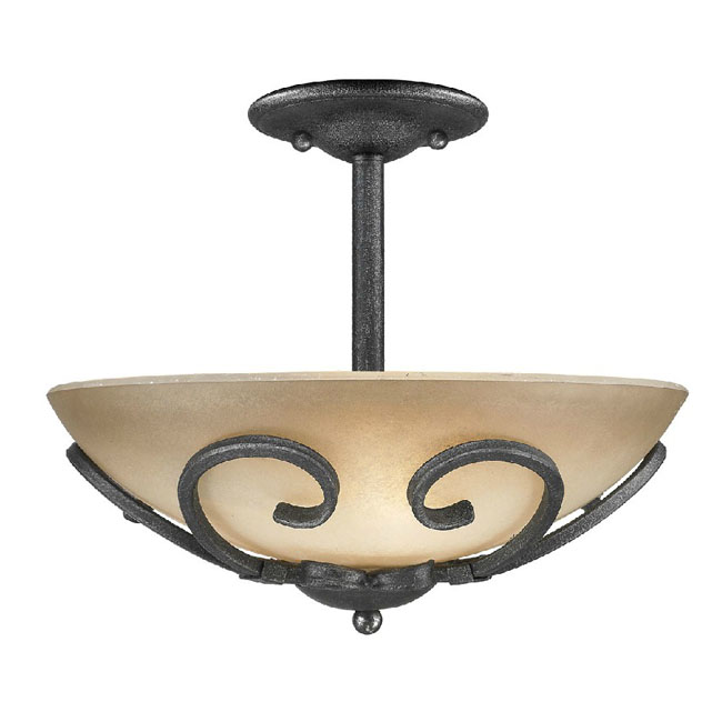 Antique Iron and Glass Shade Recessed Lighting in Matte Finish 1