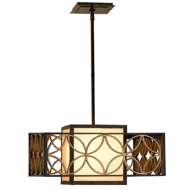 Antique PHX Iron Art and Fabric Shade Recessed Lighting 10537
