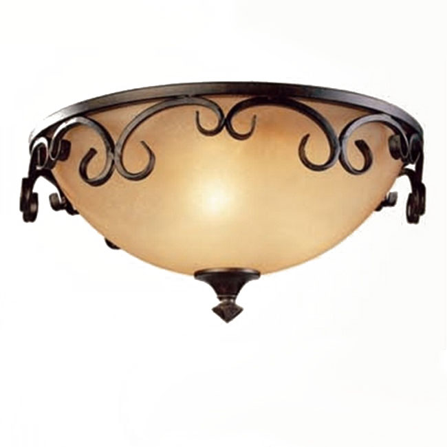 Antique Iron Art and Marble Shade Recessed Lighting 10596