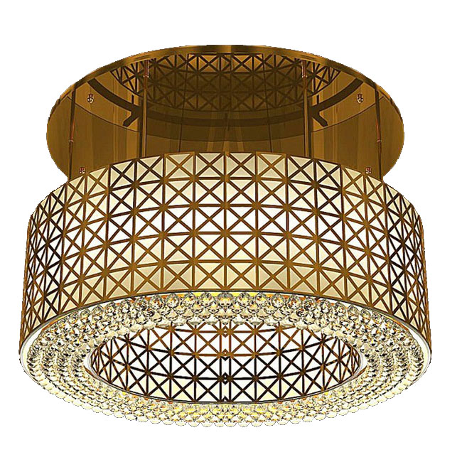 Modern Carved Metal and Crystal Recessed Lighting 10742