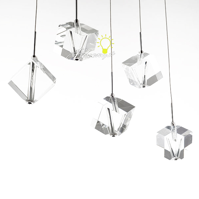 Modern Square Crystal Pendant Lighting in Chrome Finish 728