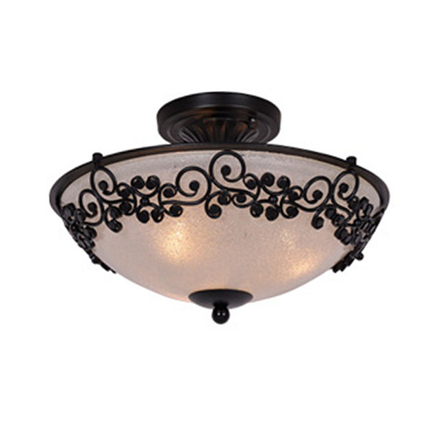 Antique Iron and Matte Glass Shade Recessed Lighting in Baking F