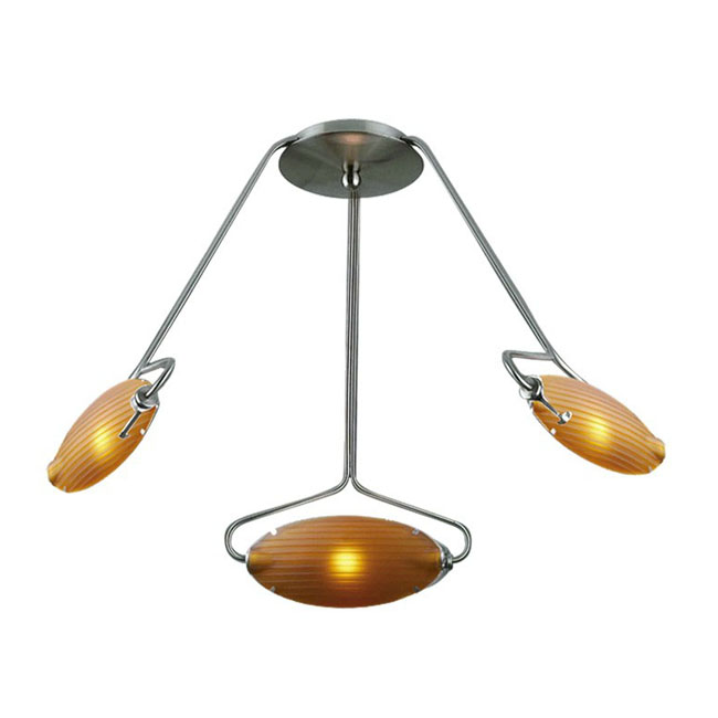 Modern 3 Blown Glass Shades Recessed Lighting 10082