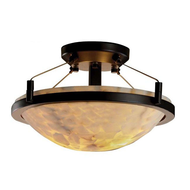 Antique Iron and Marble Shade Recessed Lighting 10165