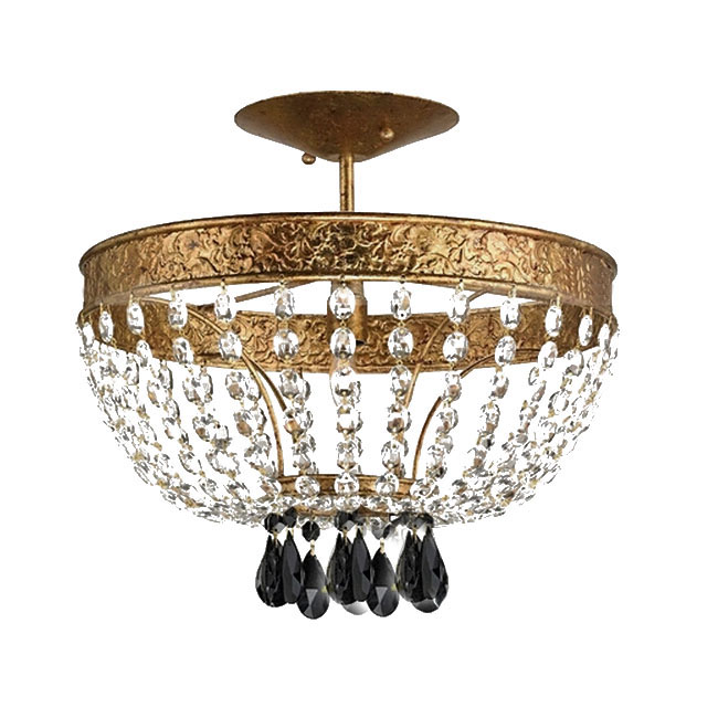 Antique Copper and Crystal Chandelier 11179