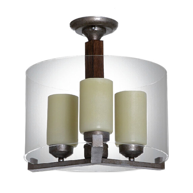 Antique Marble and Clear Glass Shade Wood Rod Recessed Lighting