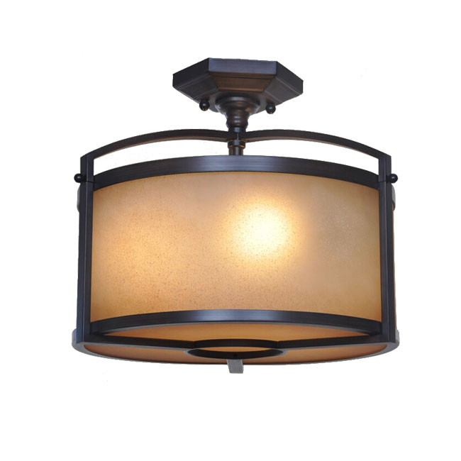 Antique Iron and Matte Glass Shade Recessed Lighting 11308