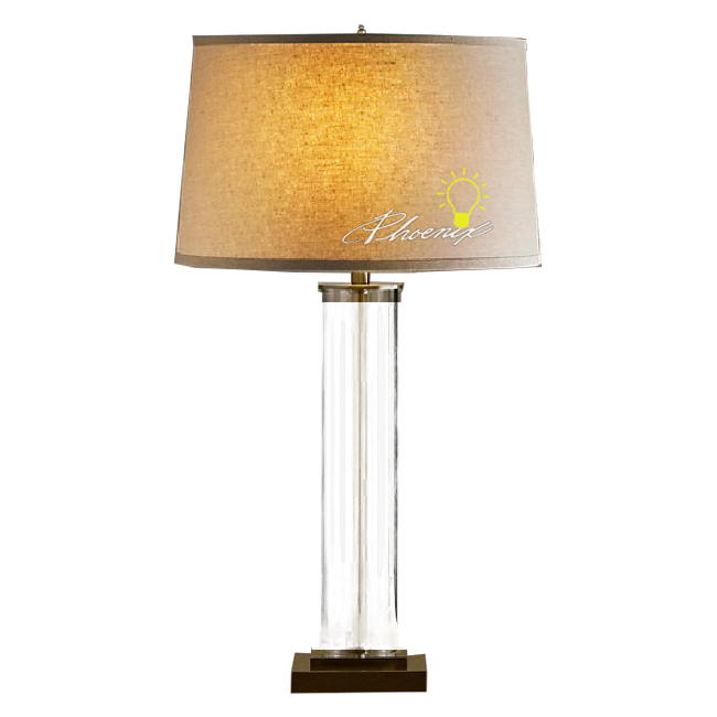 North Flax Shade and Crystal Arm Table Lamp 7469