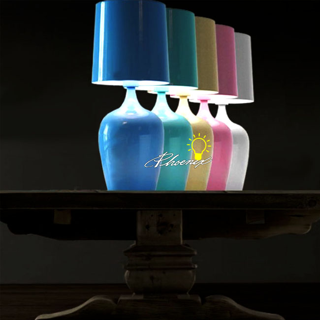 Flower Bottle Bedside Table Lamp in Plating Multi-colors Finish