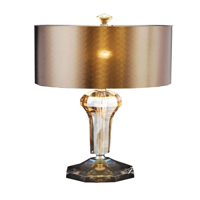 Cognac Crystal and Silk Shape Table Lamp in chrome Finish 8171