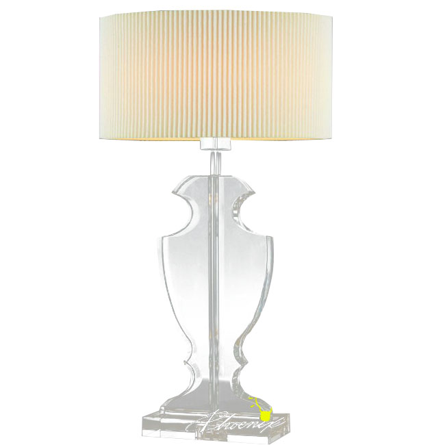 Modern Crystal and Fabric Table Lamp in Chrome Finish 8329