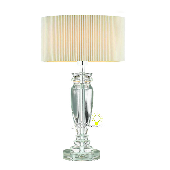Modern Crystal and Fabric Table Lamp in Chrome Finish 8330