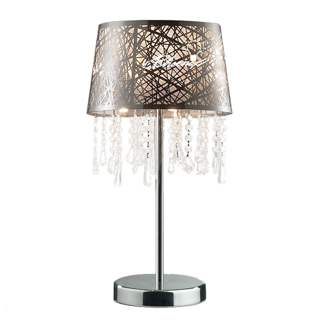 Modern Fabric and Crystal LED Table Lamp in Chrome Finish 8344