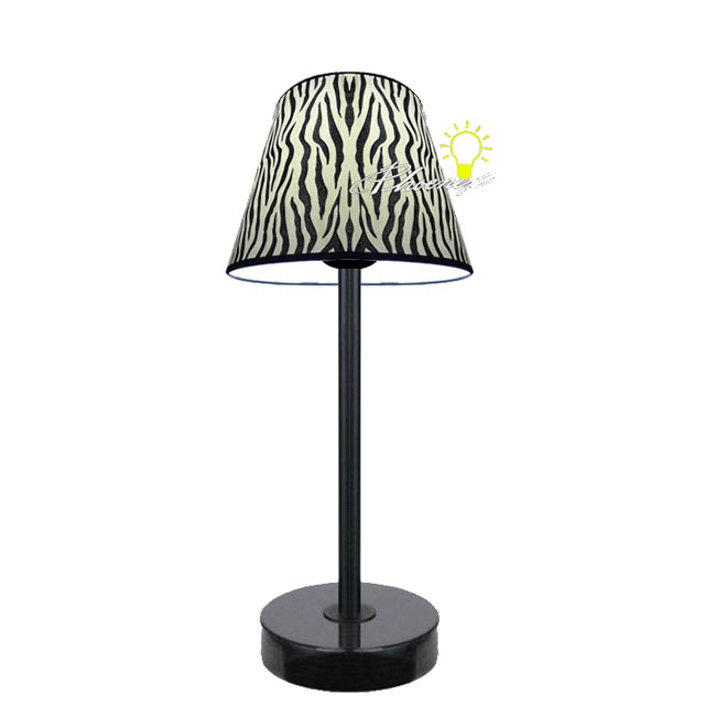 Tiger Skin Fabric Table Lamp in balck Finish 8360