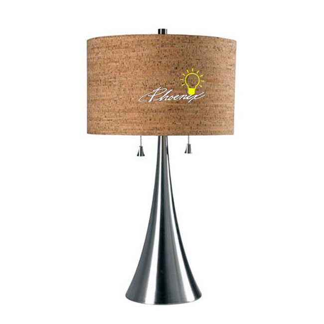 Modern Veneer and Metal Table Lamp in Baking Finish 8618