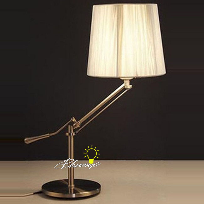 Newton Adjustable Arm And silk Shde Table Lamp 8652