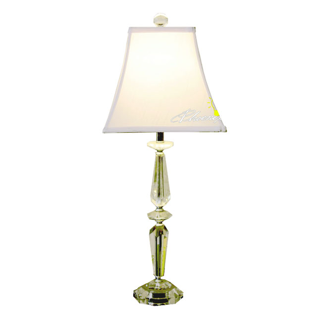 Modern Crystal And Fabric Table Lamp in Chrome Finish 8669
