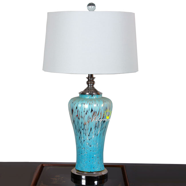 Modern Baking Glass and Fabric Table Lamp 8689