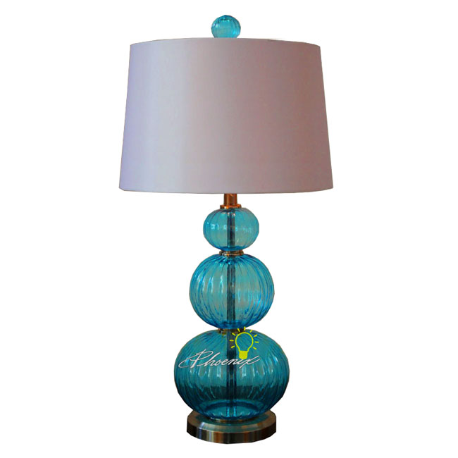 Colorful Glass and Fabric Table Lamp in Chrome Finish 8690