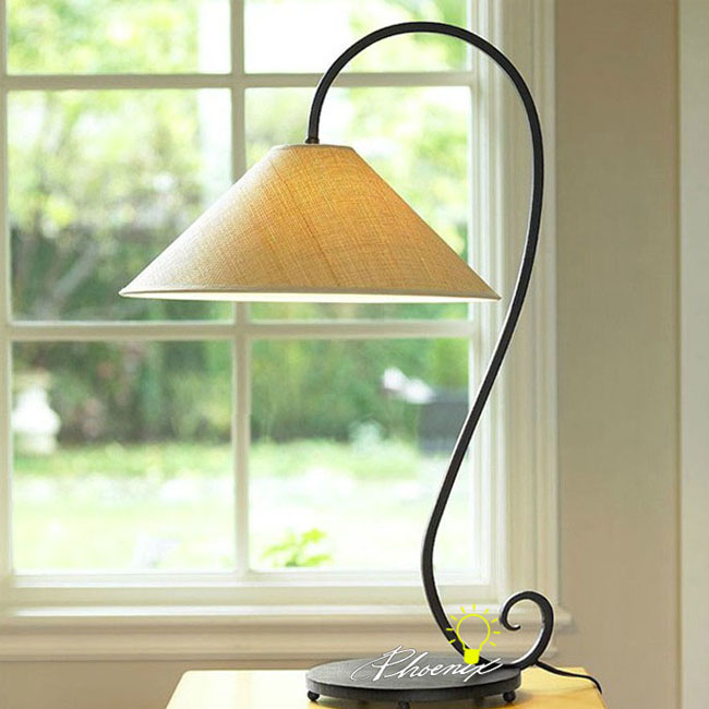 Antique Iron and Fabric Table Lamp in Painted Finish 8825