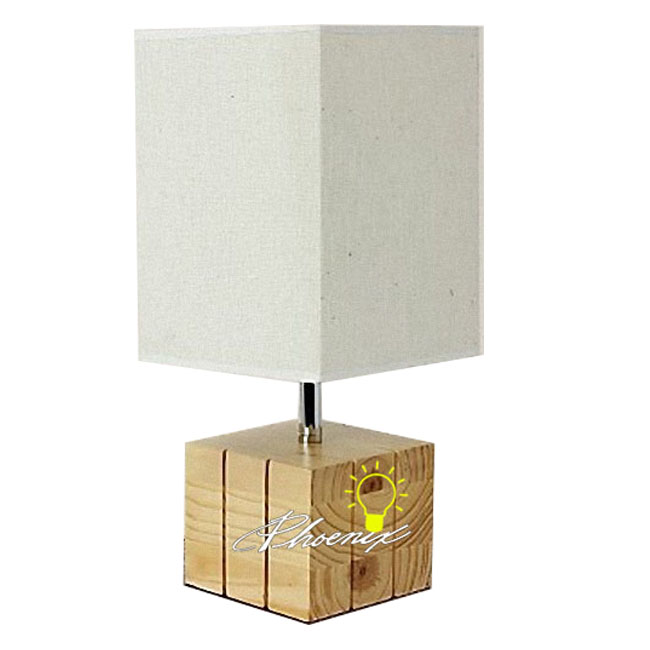 Modern Wood and Fabric Table Lamp 8837