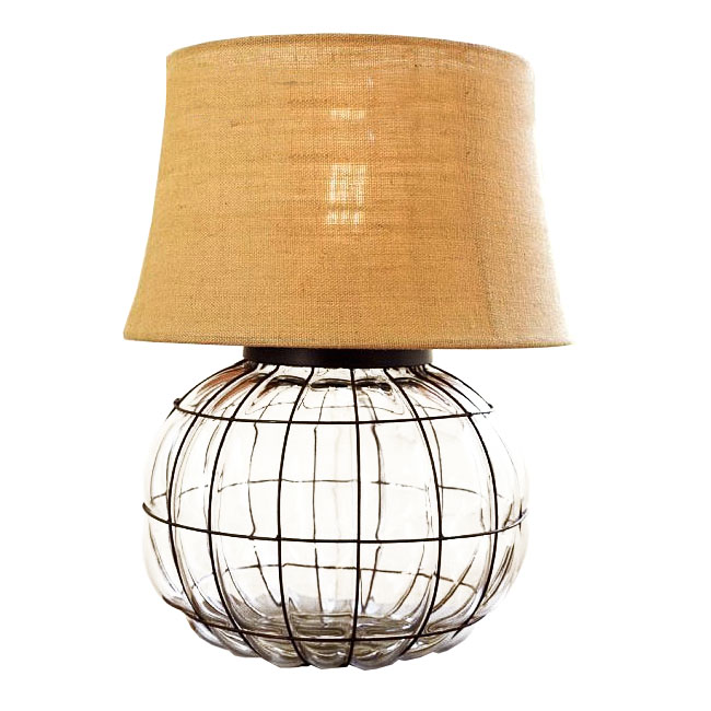 Antique Glass and Fabric Table Lamp 9179