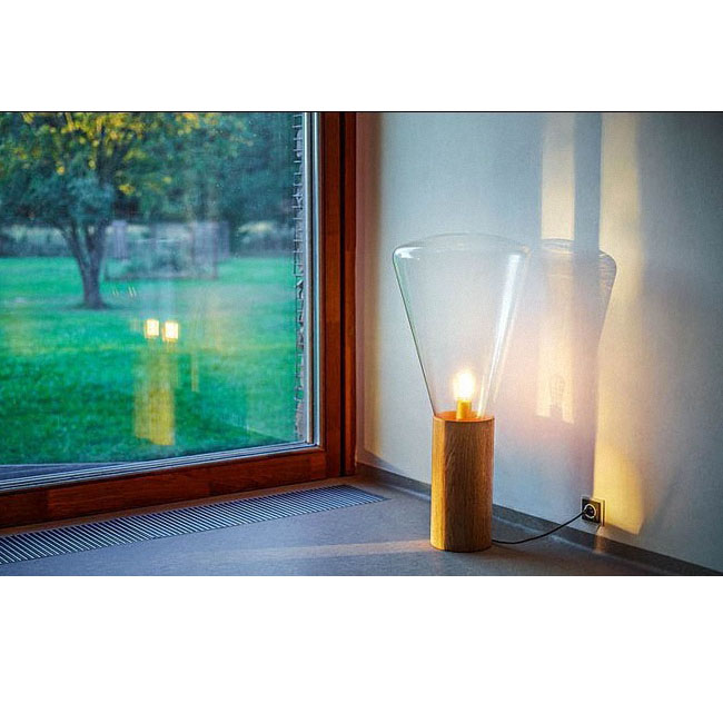 Modern Original Wood and Clear Glass Shade Table Lamp and Floor