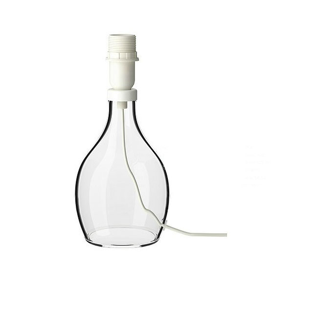 Modern IKEA lown Glass and Fabric Shade Table Lamp 10540